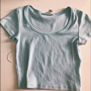 Light blue ribbed crop tee NEVER WORN